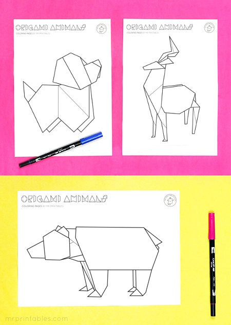 Origami-animal-coloring-pages