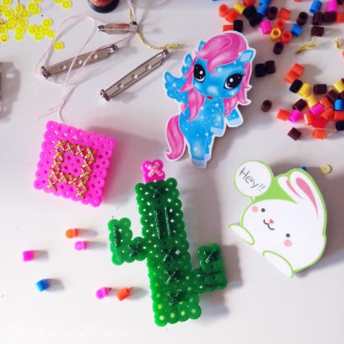 DIY broches perles à repasser, packaging recyclé