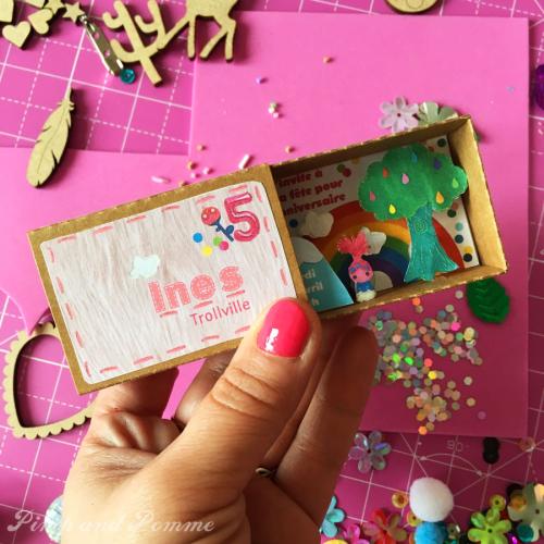 DIY-Invitation-TROLLS-Diorama-Poppy-Trollville-Boite-Allumette