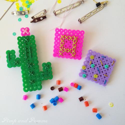 DIY broche perles hama cactus monogramme sequins paillettes