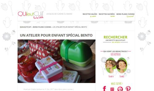 Un atelier pour enfant spécial bento Quileutcuit