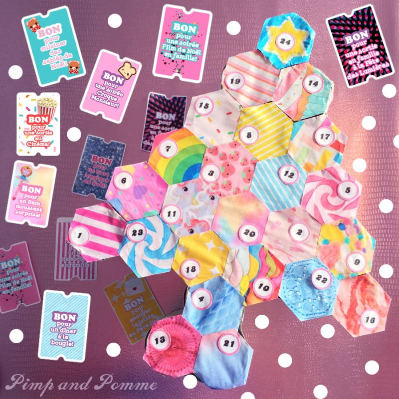 Diy Calendrier De L Avent A Imprimer Couleurs Rainbow Kawaii 6